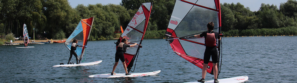 Juniors windsurfing at Bray Lake